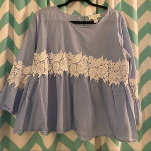 Blue and white lace blouse